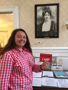 Alexandra with a photo of Florence Peshine Eagleton
