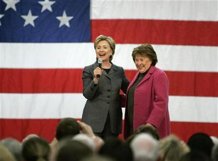 U.S. Presidential candidate, Senator Hillary Clinton (D-NY) speaks on stage with her mother Dorothy Rodham, during a rally in Des Moines